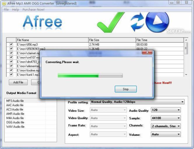 Afree MP3 AMR OGG Converter Screenshot 2