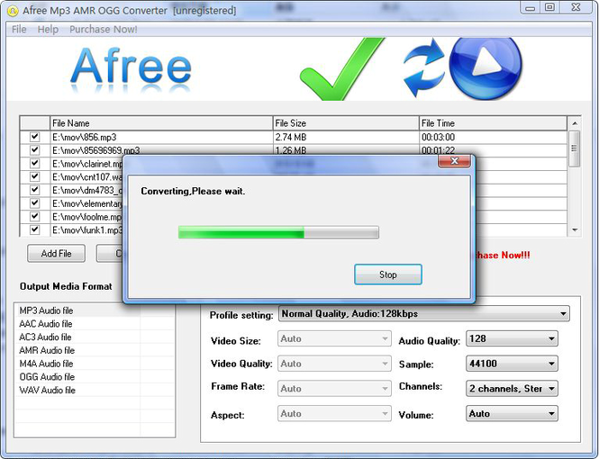 Afree MP3 AMR OGG Converter Screenshot