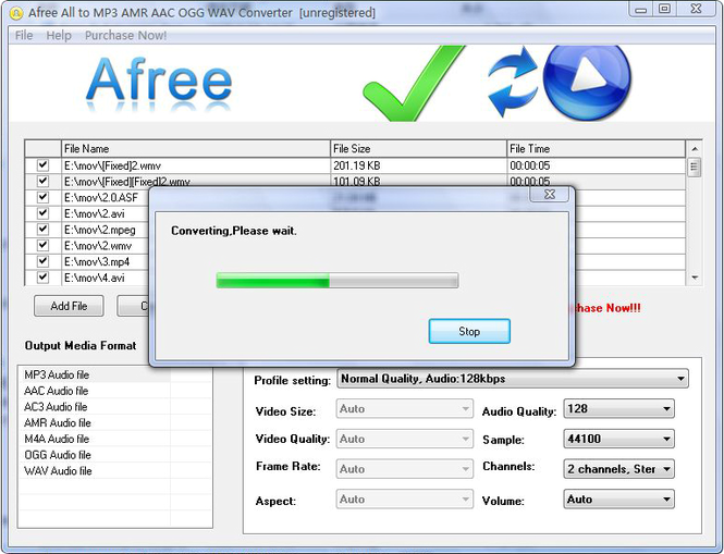 Afree All to MP3 AMR AAC OGG Converter Screenshot