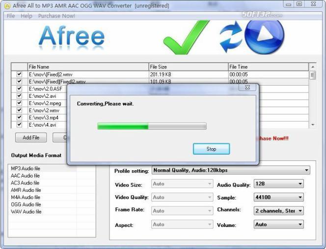 Afree All to MP3 AMR AAC OGG Converter Screenshot 2