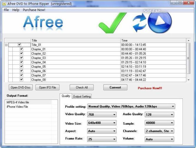 Afree DVD to iPhone Ripper Screenshot 2