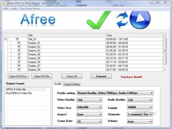Afree DVD to iPod Ripper Screenshot 2