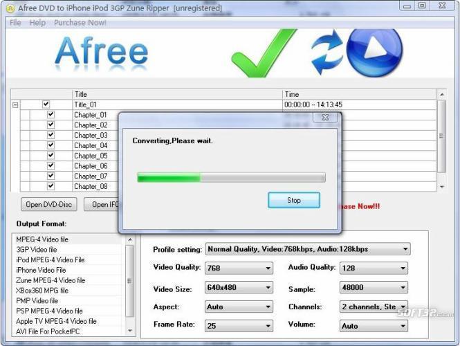 Afree DVD to iPhone iPod 3GP Zune Ripper Screenshot 2