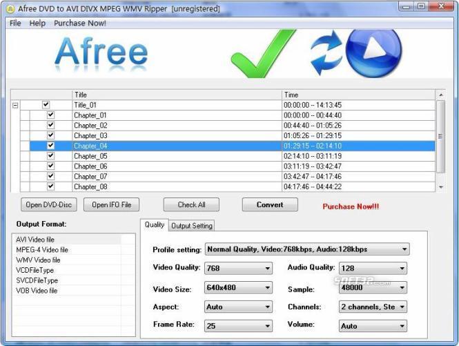 Afree DVD to AVI DIVX MPEG WMV Ripper Screenshot 2