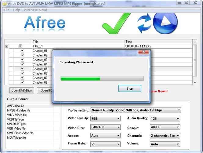 Afree DVD to AVI WMV MOV MPEG MP4 Ripper Screenshot 1
