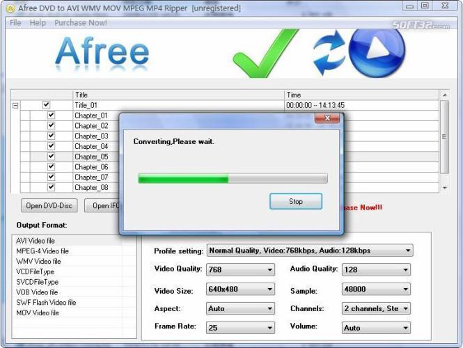Afree DVD to AVI WMV MOV MPEG MP4 Ripper Screenshot 2