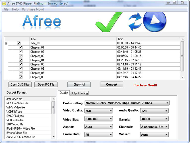 Afree DVD Ripper Platinum Screenshot 1