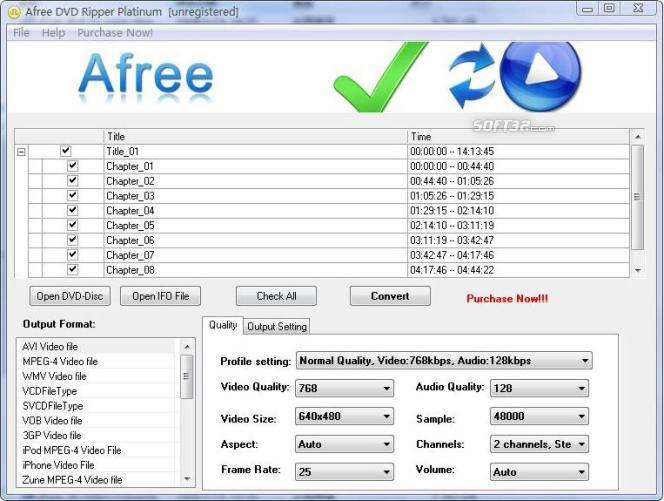 Afree DVD Ripper Platinum Screenshot 2