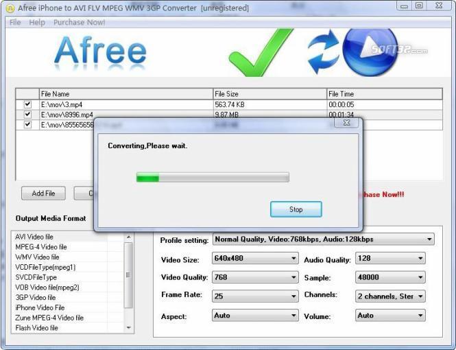 Afree iPhone to AVI FLV MPEG Converter Screenshot 2