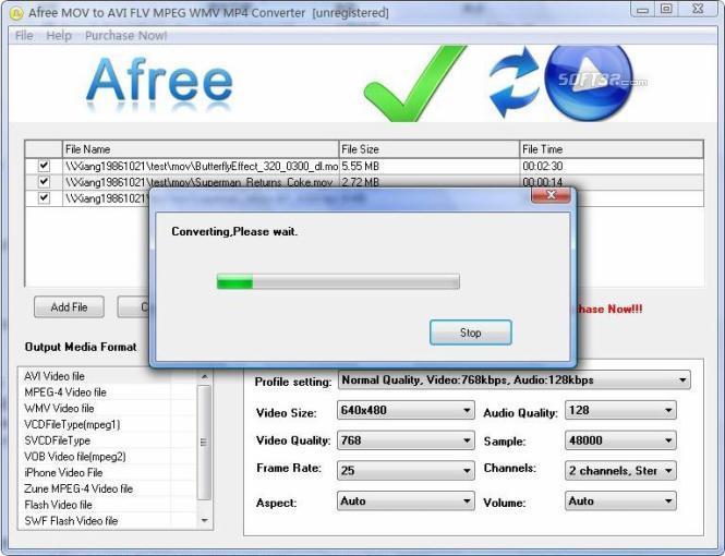 Afree MOV to AVI FLV MPEG WMV Converter Screenshot 2