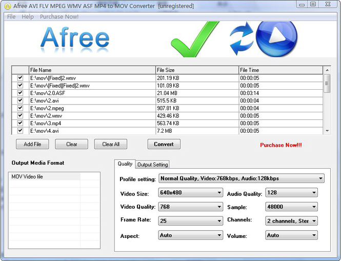 Afree AVI FLV MPEG WMV to MOV Converter Screenshot