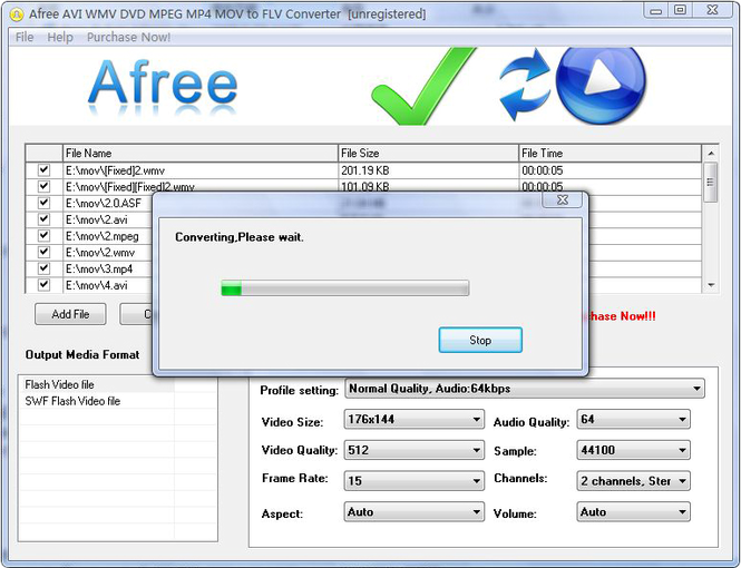 Afree AVI WMV DVD MPEG to FLV Converter Screenshot