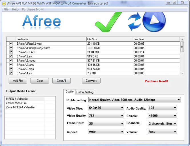 Afree AVI FLV MPEG WMV to MP4 Converter Screenshot 1