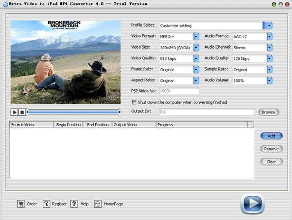 Extra Video to iPod MP4 Converter Screenshot