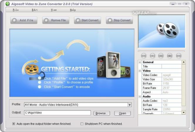 Aigo Video to Zune Converter Screenshot