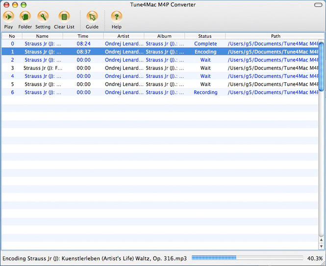 Tune4Mac M4P Converter for Mac Screenshot