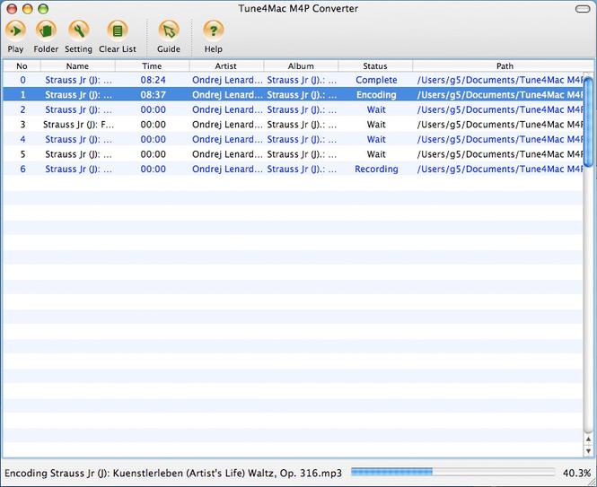 Tune4Mac M4P Converter for Mac Screenshot 1