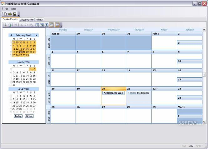 NetObjects Web Calendar Screenshot 2