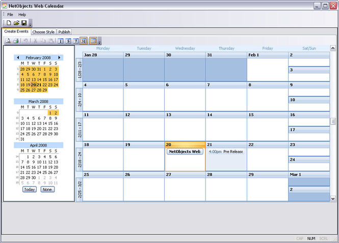 NetObjects Web Calendar Screenshot