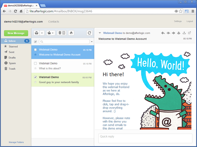 AfterLogic WebMail Lite PHP Screenshot