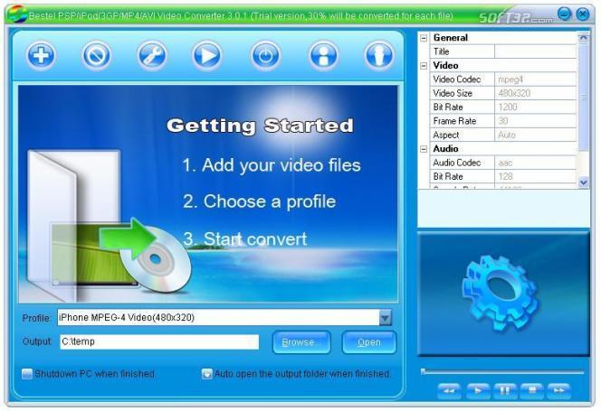 Bestel PSP Video Converter Screenshot 3