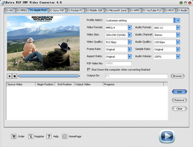 Extra FLV SWF Video Converter Screenshot