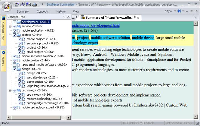 Intellexer Summarizer Screenshot
