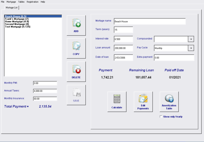 Mortgage and Loan Calculator Analyzer Screenshot