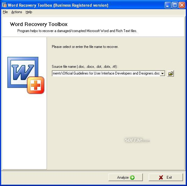 Word Recovery Toolbox Screenshot 2