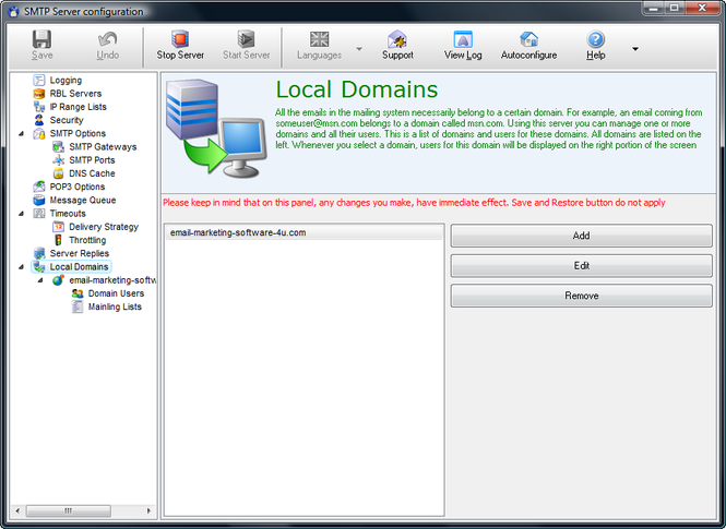 E-Mail Server Screenshot 1