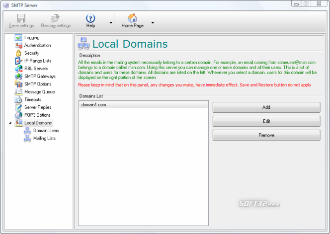 E-Mail Server Screenshot 2