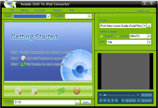 Avaide DVD To iPod Converter Screenshot