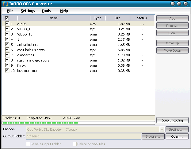 ImTOO OGG Converter Screenshot
