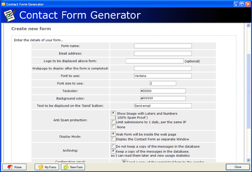 Contact Form Generator Screenshot