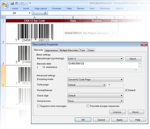 Barcode Generator ActiveX/OCX TBarCode Screenshot 1