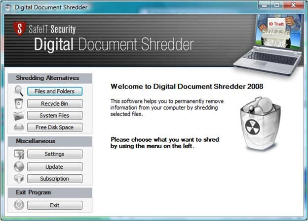 DEK Digital Document Shredder Screenshot