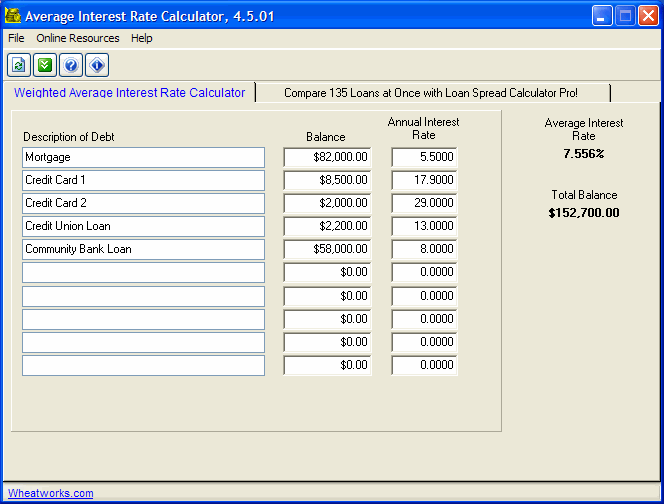 Free Average Interest Rate Calculator Screenshot