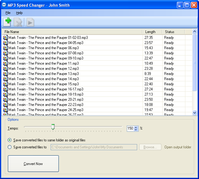 MP3 Speed Changer Screenshot