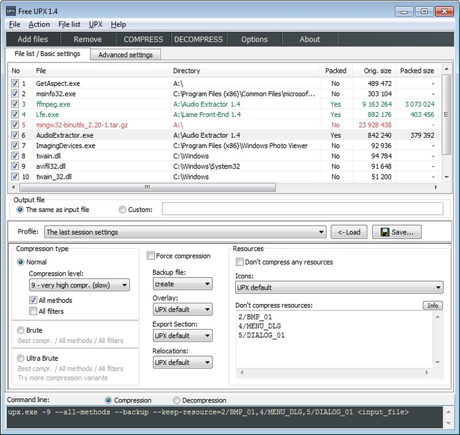 Free UPX Screenshot 1