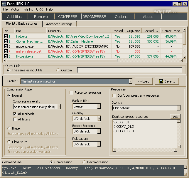 Free UPX Screenshot 2
