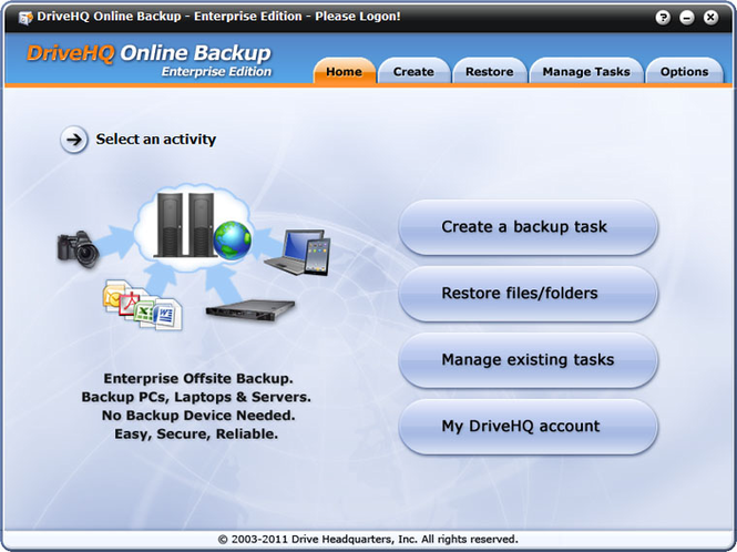 DriveHQ Online Backup Enterprise Edition Screenshot