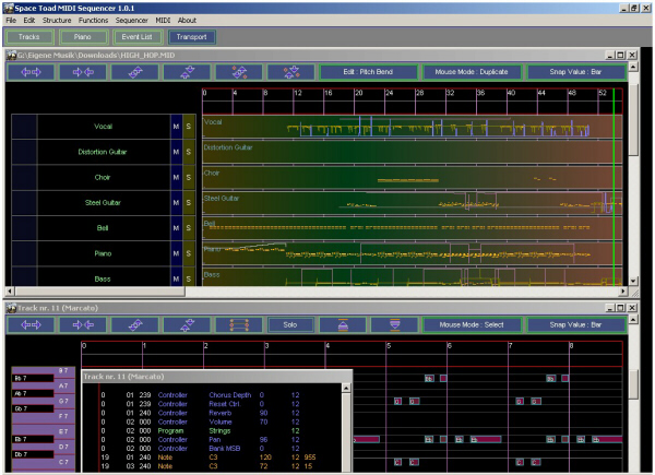 Space Toad MIDI Sequencer Screenshot