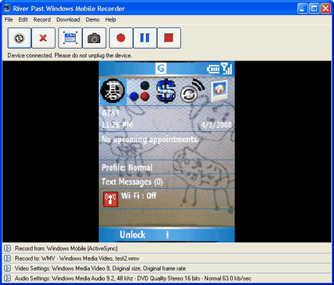 River Past Windows Mobile Recorder Screenshot 1