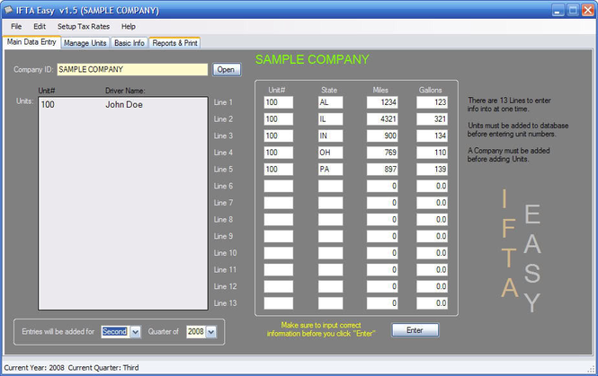 IFTA Software Screenshot