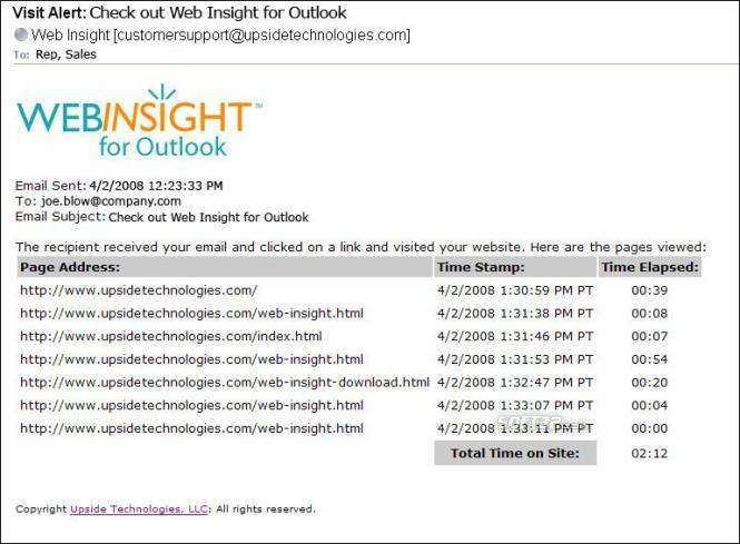 Web Insight for Outlook Screenshot 2