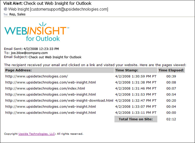 Web Insight for Outlook Screenshot