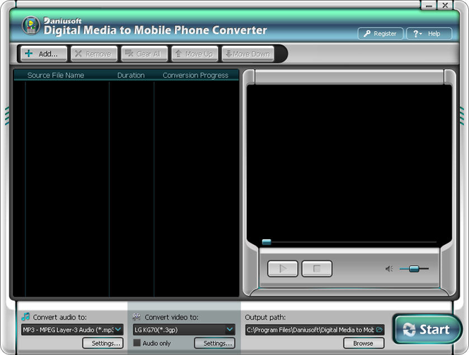 Daniusoft Digital Video to Mobile Phone Converter Screenshot