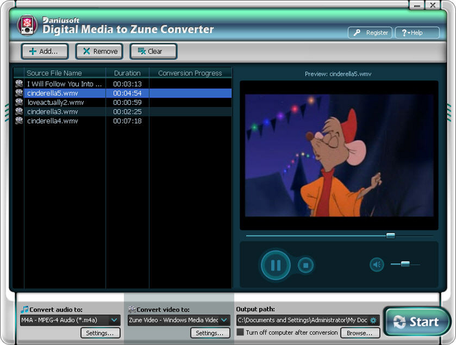 Digital Media to Zune Converter Screenshot 1