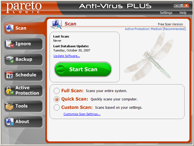 ParetoLogic Anti-Virus Plus Screenshot