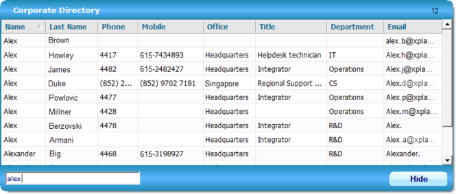 Corporate Directory Screenshot